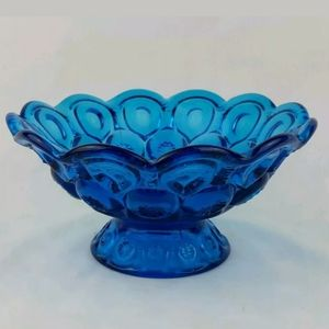 Vintage Blue Glass Pedestal Ruffled Dish Thumb Pri